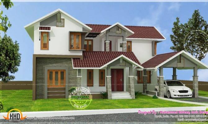 Kerala Sloping Roof House Home Design Floor Plans