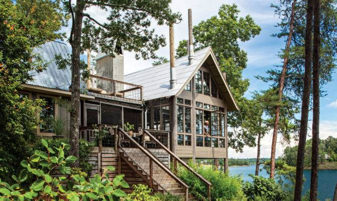 Lake House Trees Set Edge Clear Deep