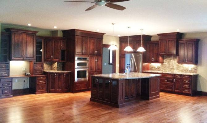 Large Open Concept Cherry Kitchen Traditional