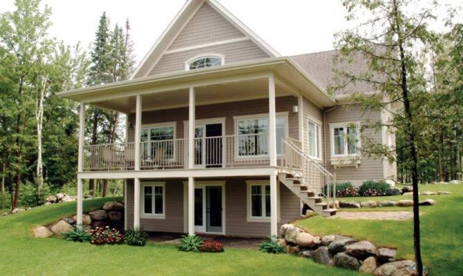 Level Basement Floor Mountain House Plans Walkout