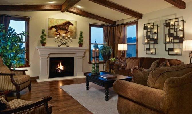 Living Room Fireplace Exposed Ceiling Beams Hgtv