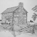 Log Cabin Sketch Drawing
