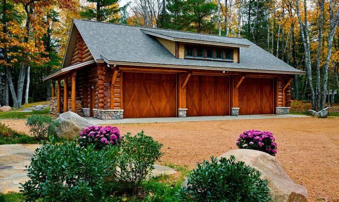 Log Garage Like Wood Overhead Doors Home Design Pinterest