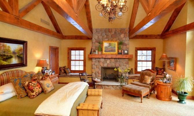 Log Home Master Suite Addition Rustic Bedroom