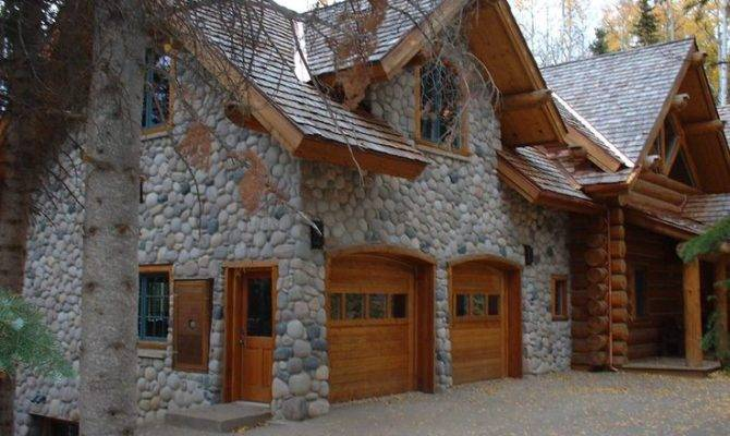 Log Home Stone Garage Dream Pinterest