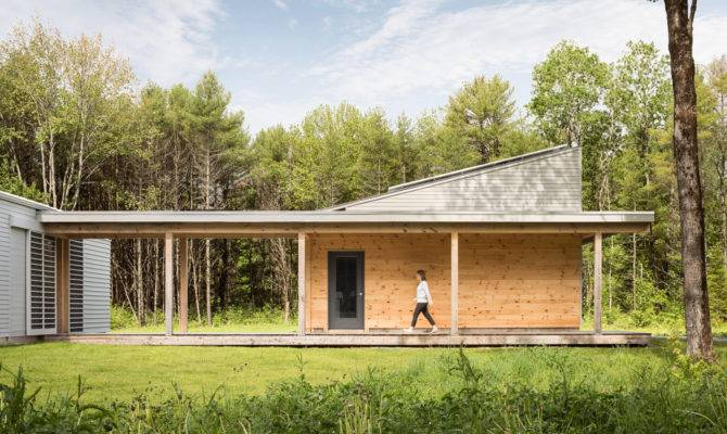 Logic Builds Wooden House Forest Clearing Maine