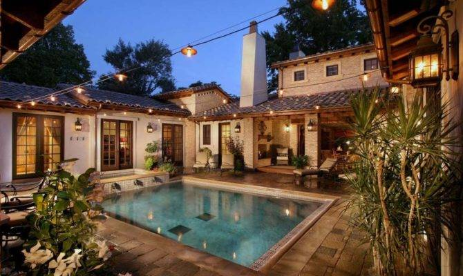 Lovely Spanish Style House Plans Interior Courtyard