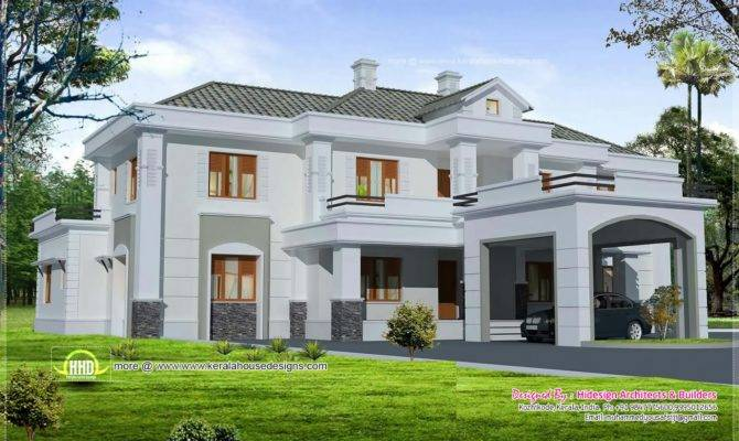 Luxury Colonial Style Home Design Court Yard Kerala