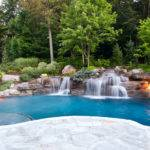 Luxury Ground Swimming Pool Waterfalls Fire Pit Design