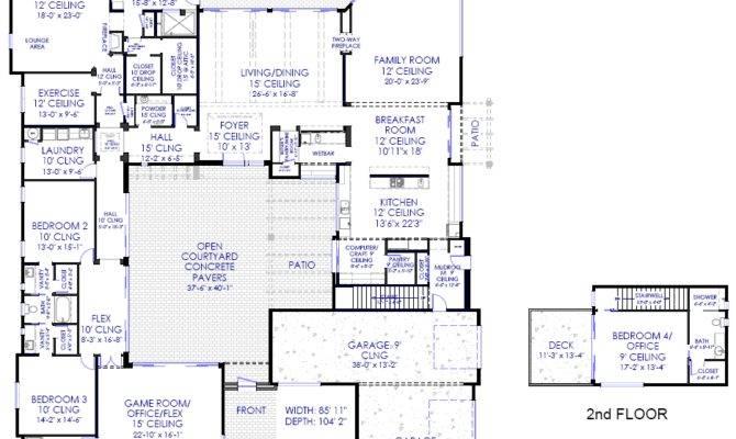 Luxury Modern Courtyard House Plan Custom