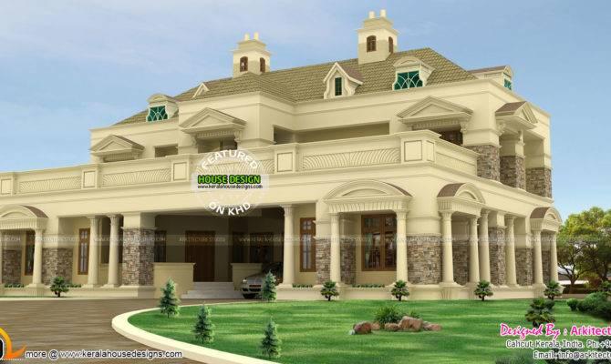 Luxury Pillar Type Slope Roof Home Kerala Design