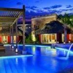 Luxury Swimming Pool Design Blue Lighting Decor Olpos