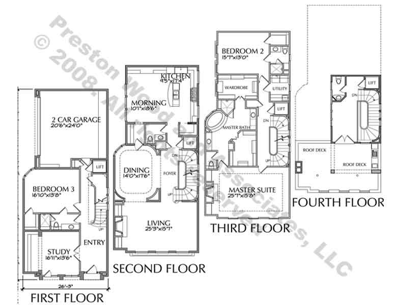 Luxury Townhouse Floor Plans Townhome Plan Home Plans Blueprints 85982