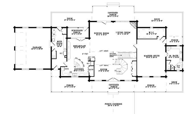Magnificent Porte Cochere Hmaffdw Log House Plans Plan