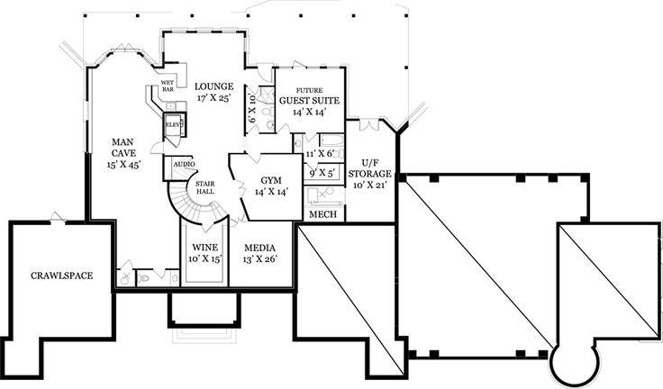 Man Cave Basement Floor Plan Chastain House Home Plans Blueprints 20791