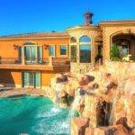 Mansions Pools Brown Stone Pool Waterfall Wall