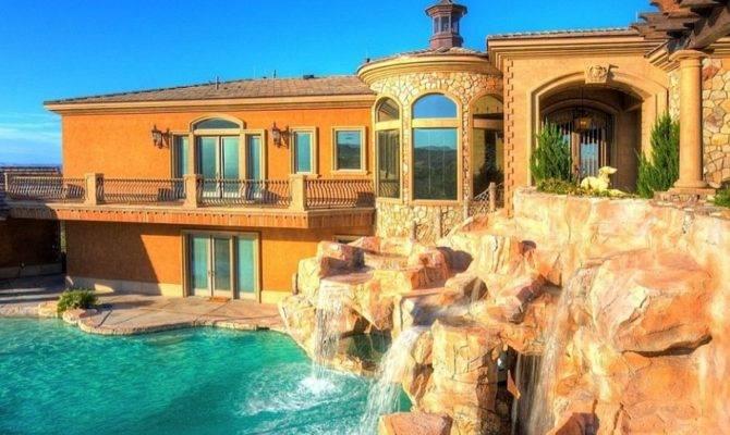 Mansions Pools Brown Stone Pool Waterfall Wall