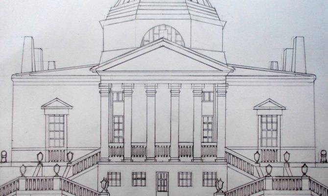 Martin Smith Chiswick House Line Drawing Open Ended Prints Posters