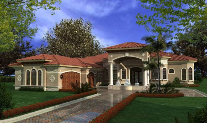 Mediterranean House Plans Luxury Story Waterfront Home