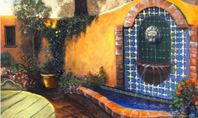 Mexican Courtyard Fountain Artist Rucker