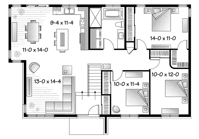 Mid Century Modern House Plans Print Floor Plan