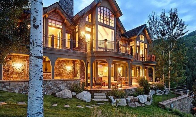 Million Mountaintop Stone Mansion Aspen Homes