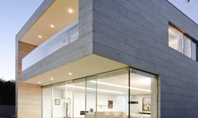 Modern Concrete Home Design Sliding Glass Door