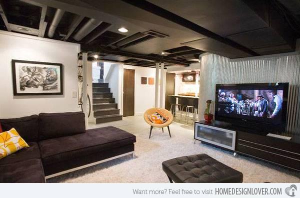 Modern Contemporary Living Room Basement Designs