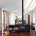 Modern Fireplace Laminate Flooring Glass Bay Windows White Pendant