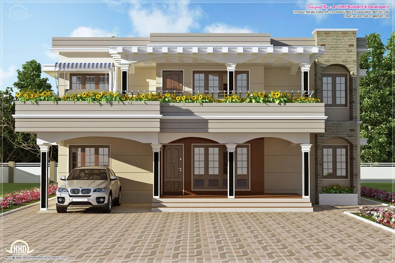 Modern Flat Roof Villa Feet Home Kerala Plans Home Plans Blueprints 86061