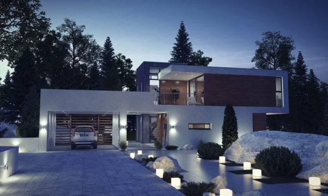 Modern House Exterior Night