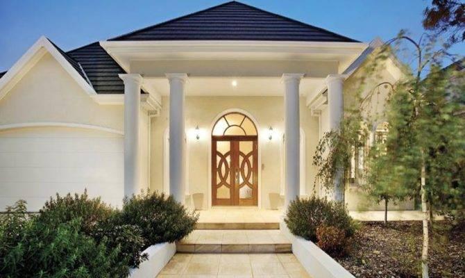 Modern House Exterior Portico Landscaped Garden Home Plans Blueprints 8769
