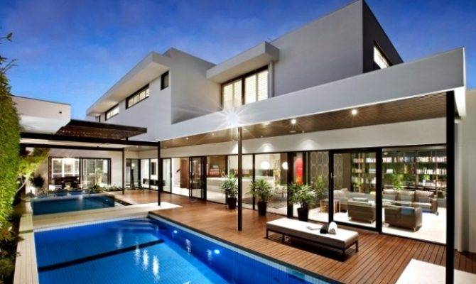 Modern House Pool Surrounded Spacious Deck Wood