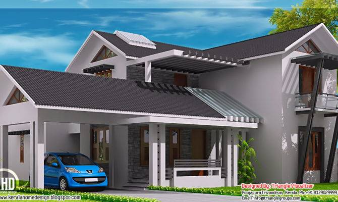 Modern Mix Sloping Roof Home Design