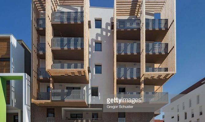 Modern Residential Buildings Wooden Paneling