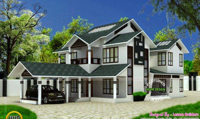 Modern Sloping Roof House Kerala Home Design Floor Plans