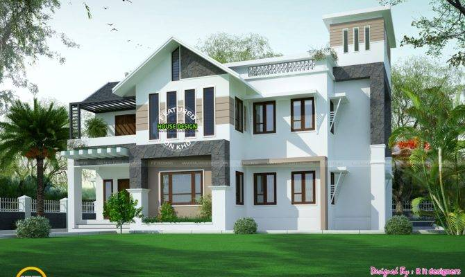 Modern Sloping Roof House Square Yards Kerala