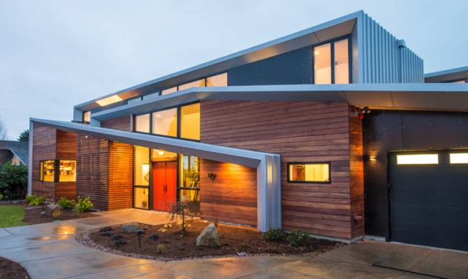 Modern Two Storey Home Narrow Roof Lines Elemental