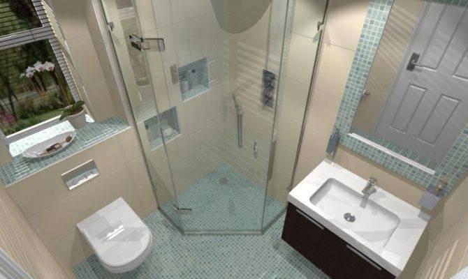 Moderne Badezimmergestaltung Fliesen Klein Bad Schraeg Dusche Glas