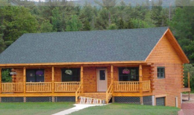 Mohawk Ranch Style Log Home Treetop Homes Michigan