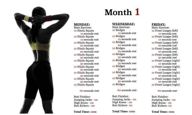 Month Bodyweight Butt Workout Plan