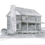 Mountain Log Cabin Drawing Jane Sitzes