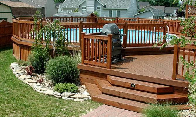 Multi Level Above Ground Pool Deck Design Ideas Exotic