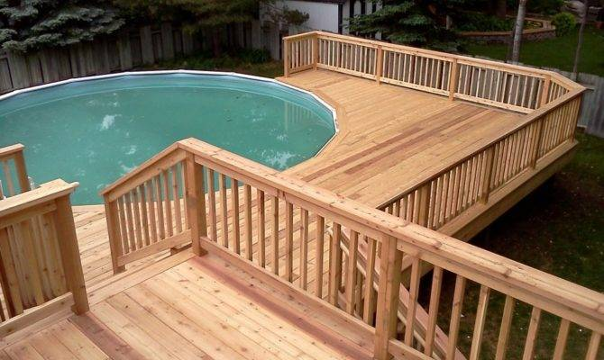 Multi Level Above Ground Pool Deck Design Plan