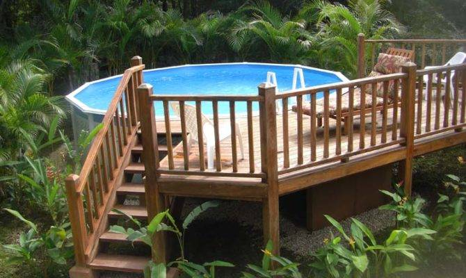 Multi Level Deck Above Ground Pool Landscaping