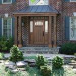 Natural Wood Columns Support Metal Shed Roof Flagstone Porch