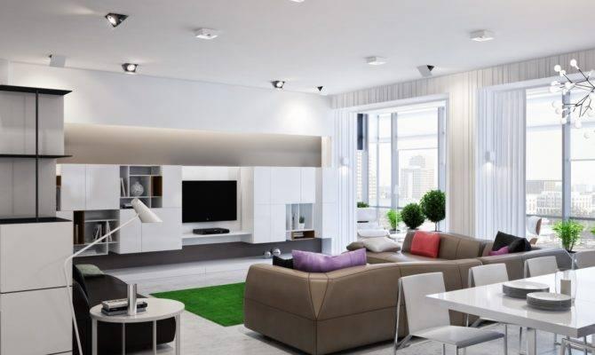 Neutral Open Plan Living Room Interior Design Ideas