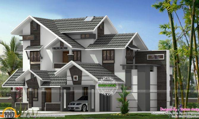 New Sloping Roof Mix House Kerala Home Design Floor