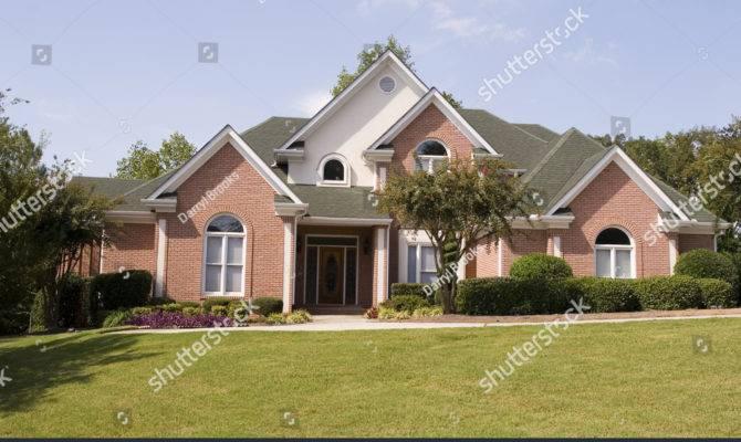 Nice Brick House Lawn Sidewalk