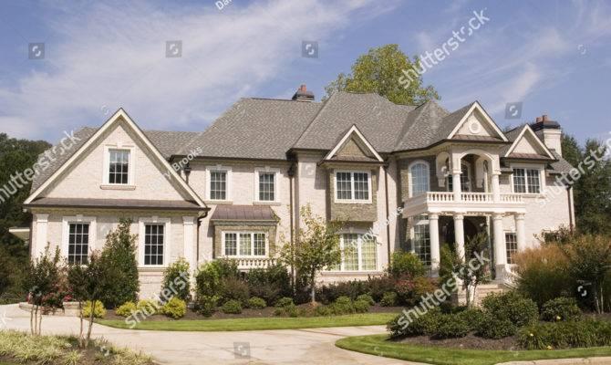 Nice Grey Brick House Landscaped